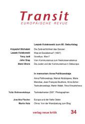 Transit 34. Europäische Revue