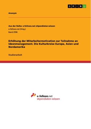 Erhöhung der Mitarbeitermotivation zur Teilnahme an Ideenmanagement. Die Kulturkreise Europa, Asien und Nordamerika