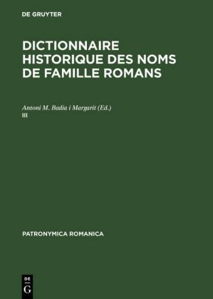 Dictionnaire historique des noms de famille romans (III)