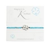 """Armband mit Echtsteinen Magnesit mit Symbol """"Kleeblatt"""" Cover"""