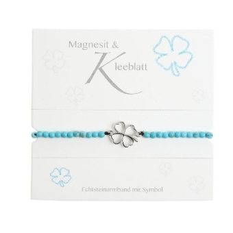 """Armband mit Echtsteinen Magnesit mit Symbol """"Kleeblatt"""""""