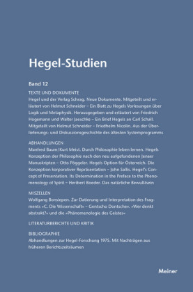 Hegel-Studien / Hegel-Studien Band 12
