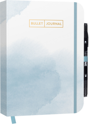 "Bullet Journal ""Watercolor Blue"" 05 mit original Tombow TwinTone Dual-Tip Marker 33 black"
