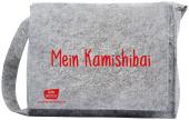 """Umhängetasche """"Mein Kamishibai"""" aus grauem Filz, mit längenverstellbaren Tragriemen, langem Überwurf und Magnetverschlüs"""