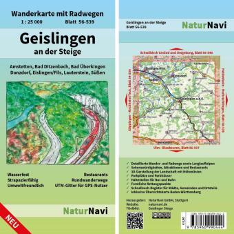 NaturNavi Wanderkarte mit Radwegen Geislingen an der Steige
