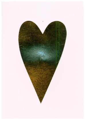 Diy Card, Herz, Gold