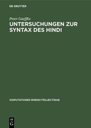 Untersuchungen zur Syntax des Hindi