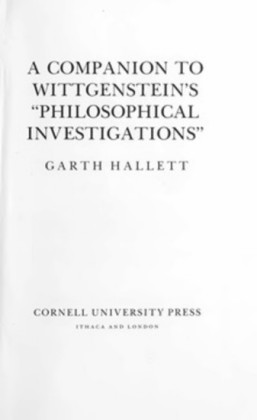 A Companion to Wittgenstein's Philosophical Investigations