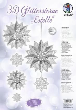"URSUS 3D-Glittersterne ""Estelle"", silber"