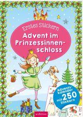 Erstes Stickern für den Advent. Weihnachtszeit im Prinzessinnenschloss
