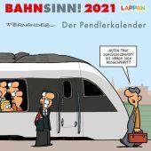Bahnsinn! Der Pendlerkalender 2021: Tischkalender mit Cartoon-Postkarten