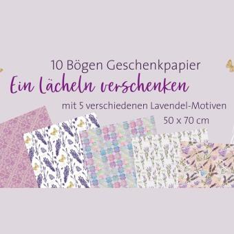 """10er-Set Geschenkpapier """"Ein Lächeln verschenken"""""""