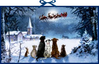 Wandkalender - Wunderbare Hunde-Weihnacht
