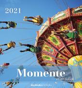 Momente voller Glück 2021 - Postkartenkalender 16x17 cm - mit Zitaten - zum aufstellen oder aufhängen - Geschenk-Idee -