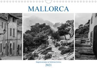 Mallorca - Impressionen in Schwarzweiß (Wandkalender 2021 DIN A4 quer)