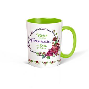 """Trötsch Tasse Kranz weiß grün """"Glück ist eine Freundin wie Dich zu haben"""""""