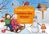 Emma und Paul erleben den Winter. Spielfiguren für die Erzählschiene