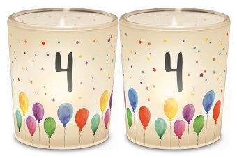 Licht + Teelicht D6H6 Geburtstag Zahl 4