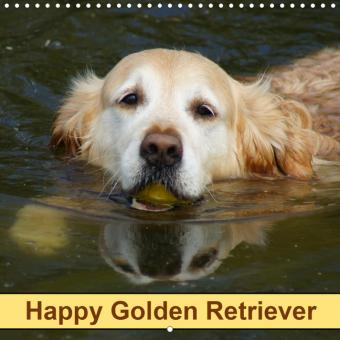 Happy Golden Retriever (Wall Calendar 2021 300 × 300 mm Square)