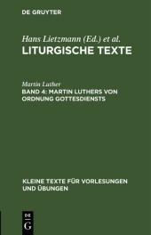 Martin Luthers Von Ordnung Gottesdiensts