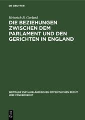 Die Beziehungen zwischen dem Parlament und den Gerichten in England