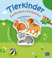 Tierkinder (Pappbilderbuch + 3 Holzfiguren), m. 3 Beilage