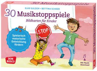 30 Musikstoppspiele. Bildkarten für Kinder., m. 1 Beilage