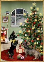 A3-Wandkalender - Dackel im Weihnachtszimmer