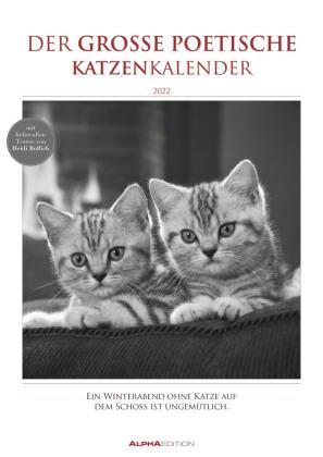 Der große poetische Katzenkalender 2022 - Bildkalender A3 (29,7x42 cm) - mit schönen Zitaten - schwarz-weiß - Tierkalend