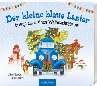 Der kleine blaue Laster bringt allen einen Weihnachtsbaum